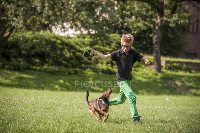Junge läuft mit Hund auf grünen Rasen — Stockfoto