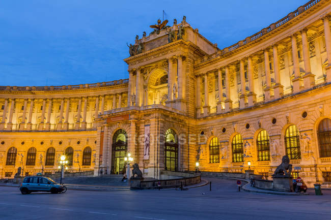 Austria, Vienna, view to lighted Hofburg Palace at twilight — Stock Photo