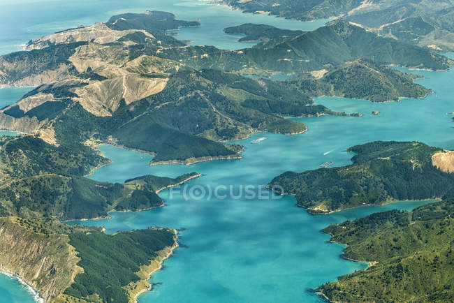 New Zealand, South Island, Marlborough Sounds, aerial photograph of the fjords near Queen Charlotte Sound — Stock Photo