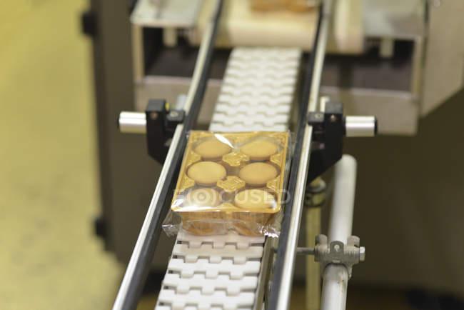 Línea de producción con blíster de cookies en la industria panadera - foto de stock