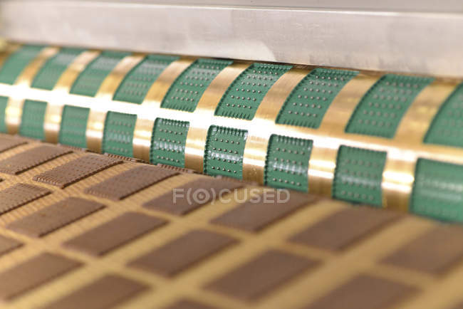 Germany, Saxony-Anhalt, production of cookies in a baking factory, close-up — Stock Photo