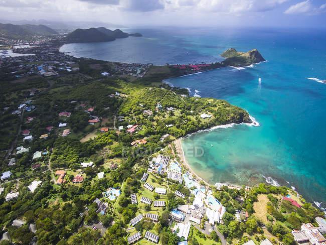 Photo aérienne de Caraïbes, Sainte-Lucie, Cap Estate, Cottan Bay Village, de Smugglers Cove Resort — Photo de stock