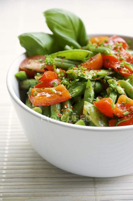 Springtime salad with green beans, sugar snap pea pods, red bell pepper and cherry tomatoes — Stock Photo