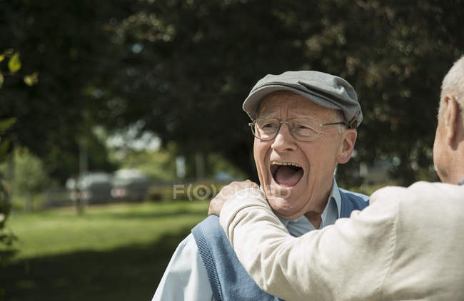 Portrait of happy old man having fun with his friend — Stock Photo