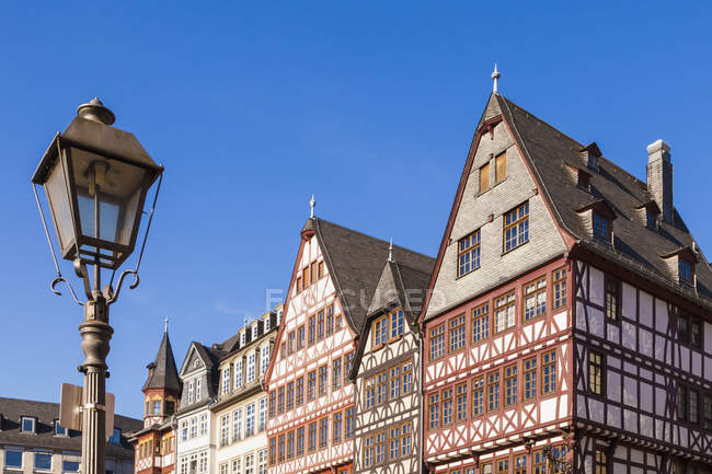 View to half-timbered houses at Roemerberg, Germany, Hesse, Frankfurt — Stock Photo