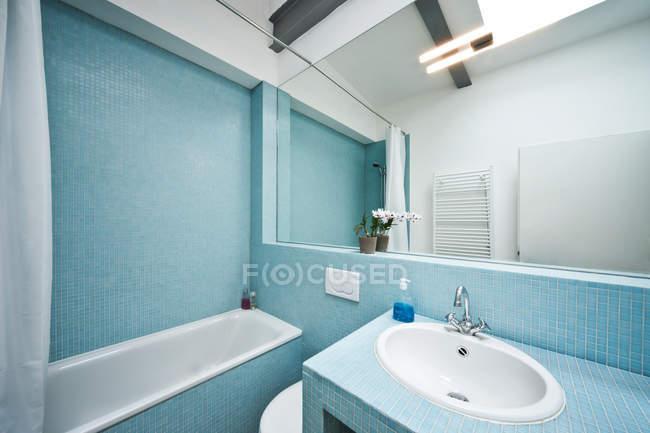 Vista all interno di un moderno bagno con mattonelle di mosaico e