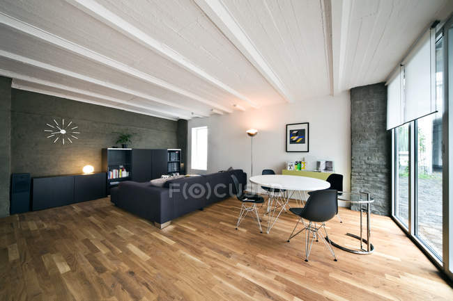 Daytime interior of living and dining room — Stock Photo