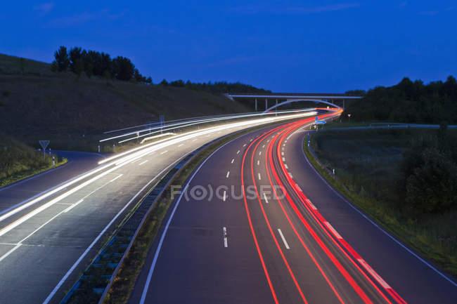 Німеччина, Саарі, вид на автостраді вночі — стокове фото