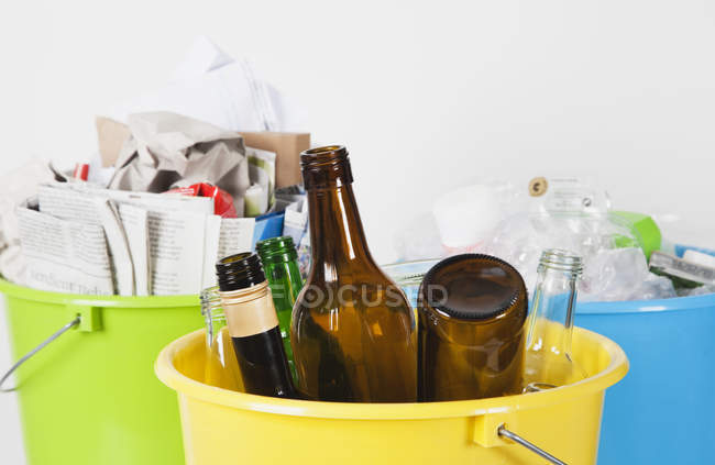Buckets with household garbage — Stock Photo