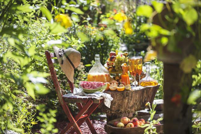 Jugos y frutas frescas - foto de stock