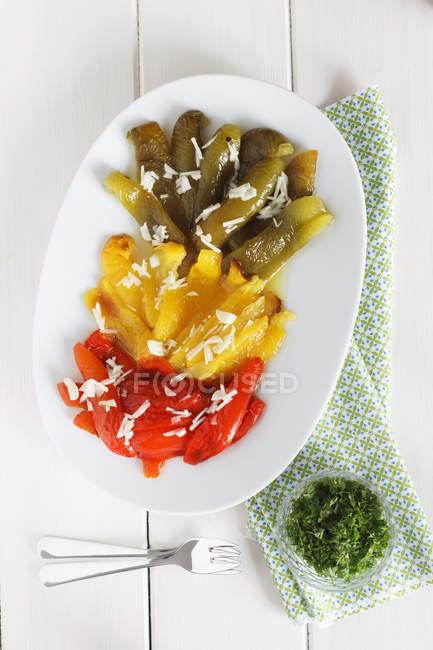 Vue d'antipasti de poivrons sur la plaque blanche — Photo de stock