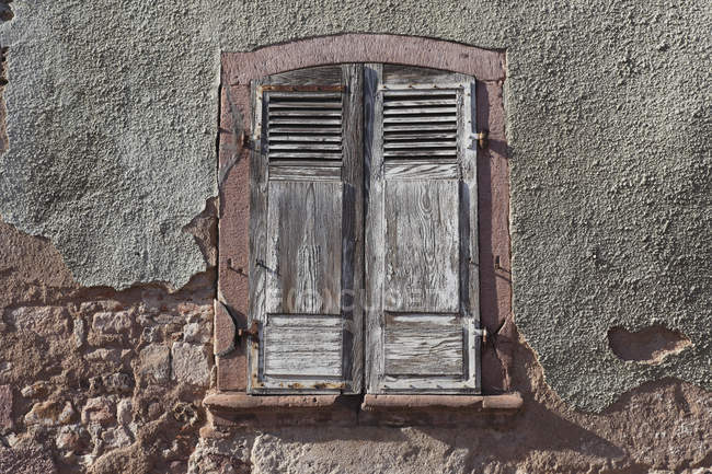 France, View of window with shutters oudoors — Stock Photo