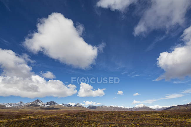États-Unis, Alaska, Paysage le long de la Denali Highway en automne avec Alaska Range — Photo de stock