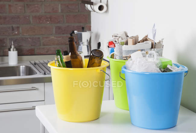 Germany, Cologne, Buckets with household garbage — Stock Photo