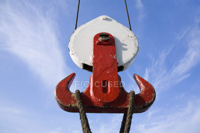 Dinamarca, Copenhaga, Gancho de navio vermelho, close — Fotografia de Stock
