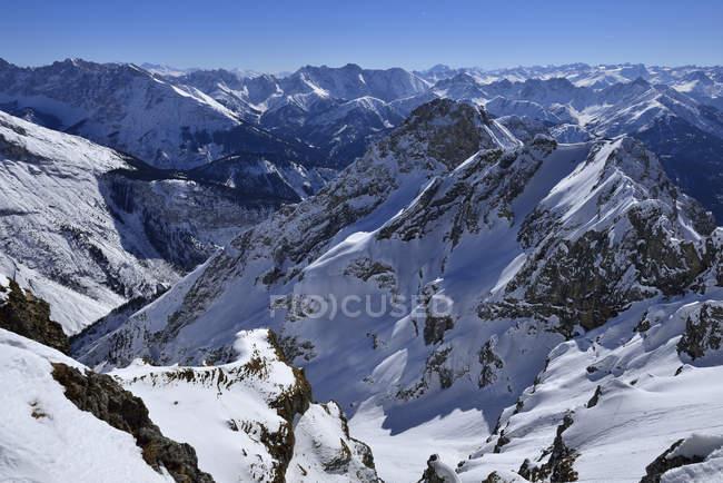 Allemagne, Bavière, vue montagnes Karwendel et Alpes bavaroises — Photo de stock