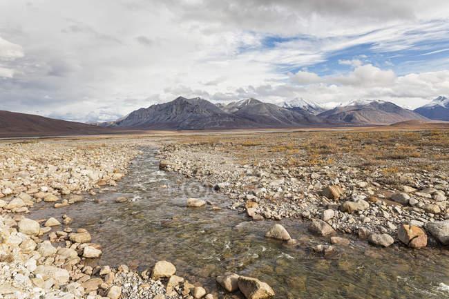 США, Аляска, перегляд крик до Гелбрейт озера, струмки у фоновому режимі в Північній Америці — стокове фото