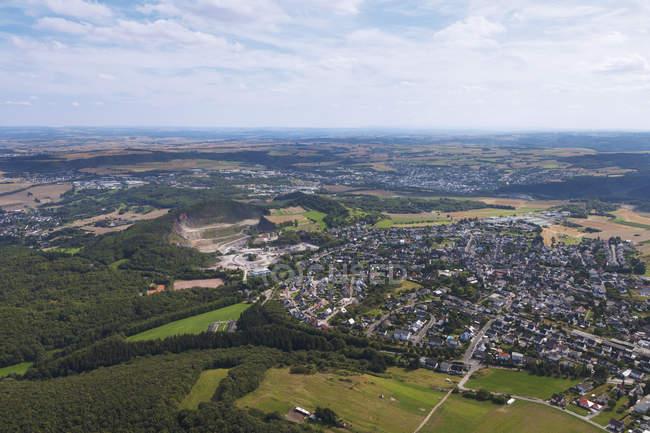 Europe, Germany, Rhineland Palatinate, View of Mendig and basalt lava quarry — Stock Photo
