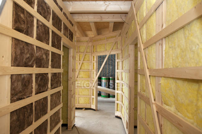 Interior construction with thermal felt insulation — Stock Photo