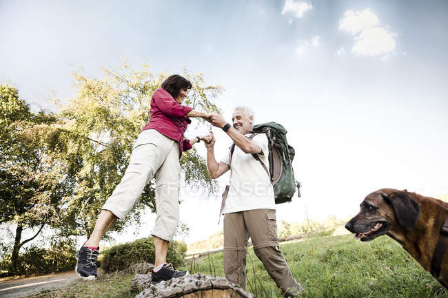 Senior couple with dog on a hike — Stock Photo