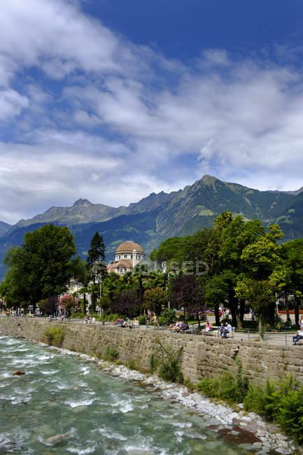 Italy, South Tyrol, Meran, Kurhaus, Passer river — Stock Photo