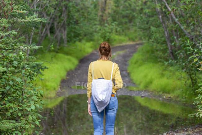 EUA, Alasca, Wrangell? St. Elias National Park and preserve, jovem caminhante — Fotografia de Stock