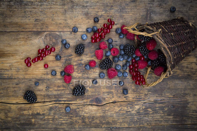 Different summer berries scattered on wooden table with basket — Stock Photo