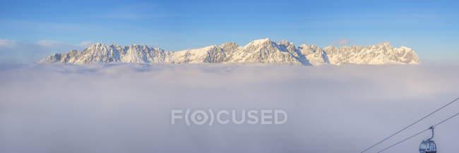 Австрія, Тіроль, панорамний вид на гори кайзера, Уайлдер Кайзер і Захмер Кайзер — стокове фото