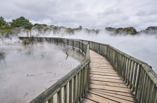 New Zealand, North Island, Rotorua, boardwalk through geothermal area — Stock Photo