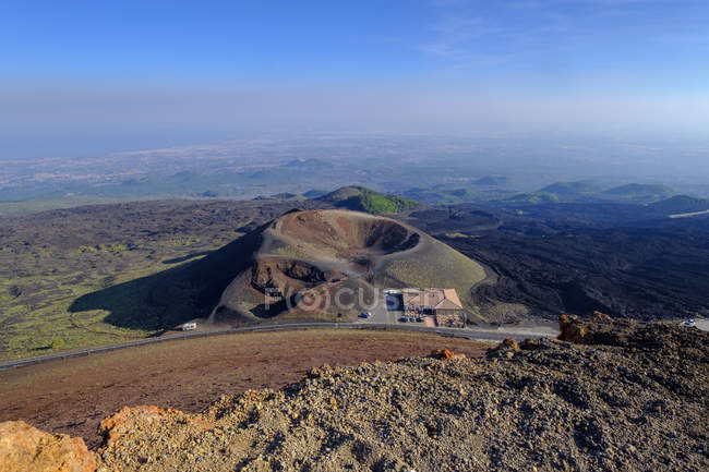Italy, Sicily, Mount Etna, Crater Silvestri with Bar Crateri Silvestri — Stock Photo