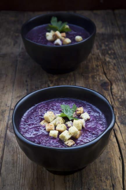 Ciotola di zuppa di cavolo rosso guarnita con crostini e foglie di prezzemolo — Foto stock