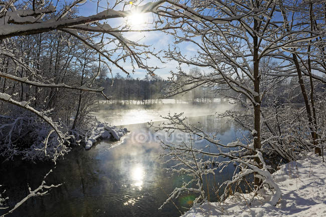 Germany, Bavaria, Upper Bavaria, Loisach in winter — Stock Photo