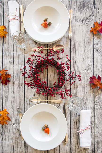 Top view of Autumnal laid table — Stock Photo