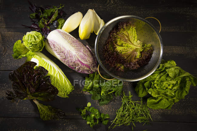 Different salad leaves on dark wooden table with metal colander — Stock Photo