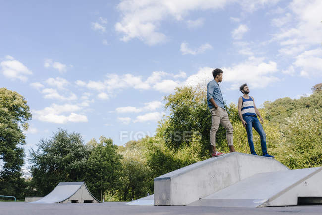 Two multicultural friends standing in skatepark — Stock Photo