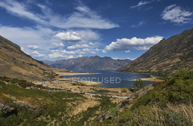 Нова Зеландія, Південний острів, Корона діапазон, озеро Wakatipu — стокове фото