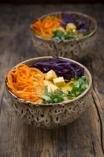 Kurkuma-Currygericht mit Karotten, Tofu, Rotkohl und Petersilie in Schüsseln — Stockfoto
