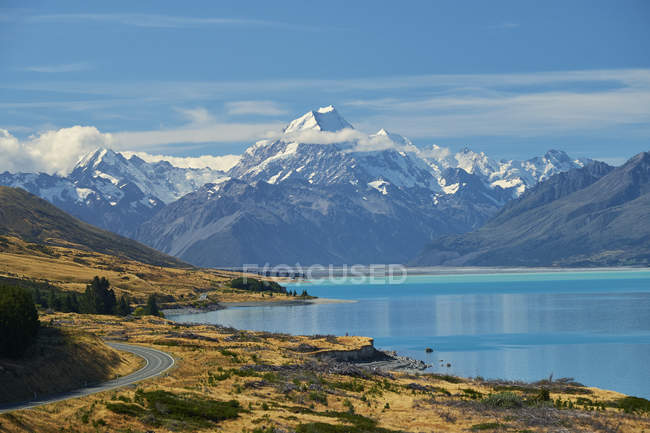 Nuova zelandia, Isola del Sud, Lago Pukaki, Mount Cook — Foto stock