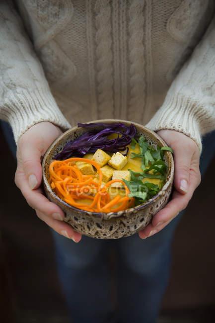 Kurkuma-Curry-Gericht mit Karotten, Tofu, Rotkohl und Petersilie in Schüssel — Stockfoto