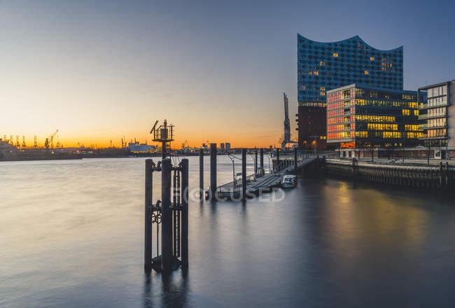 Germany, Hamburg, Grasbrook Harbour and Elbe Philharmonic Hall — Stock Photo