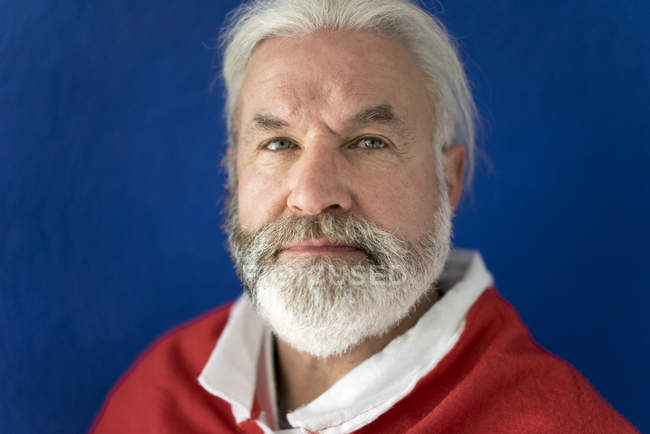Portrait of bearded mature man wearing Santa costume — Stock Photo