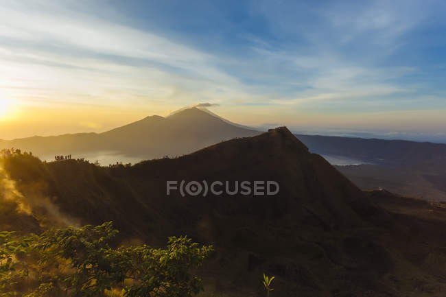 Indonesia, Bali, sunrise landscape at the top of volcano Batur — Stock Photo