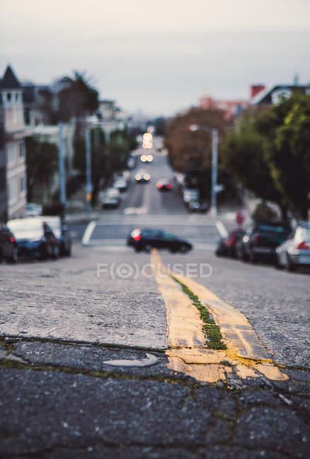 США, Каліфорнія, Сан-Франциско, Крупний план від дороги жовті лінії — стокове фото