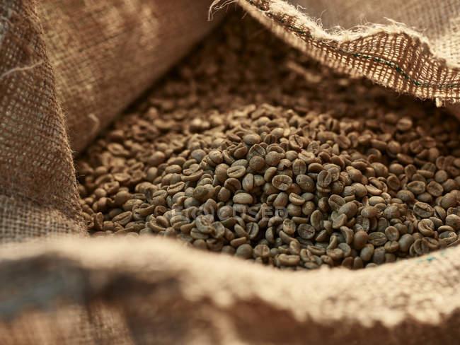 Green coffee in gunny bag — Stock Photo
