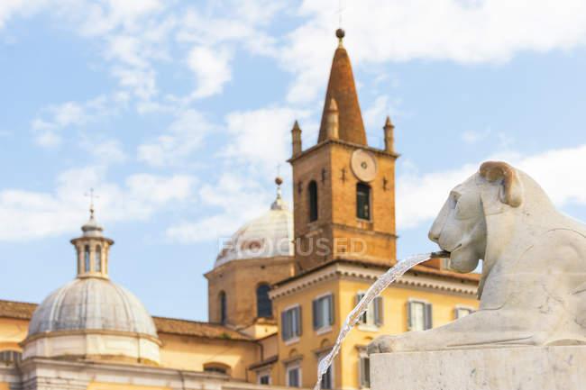 Italy, Rome, gargoyle in front of Santa Maria del Popolo — Stock Photo