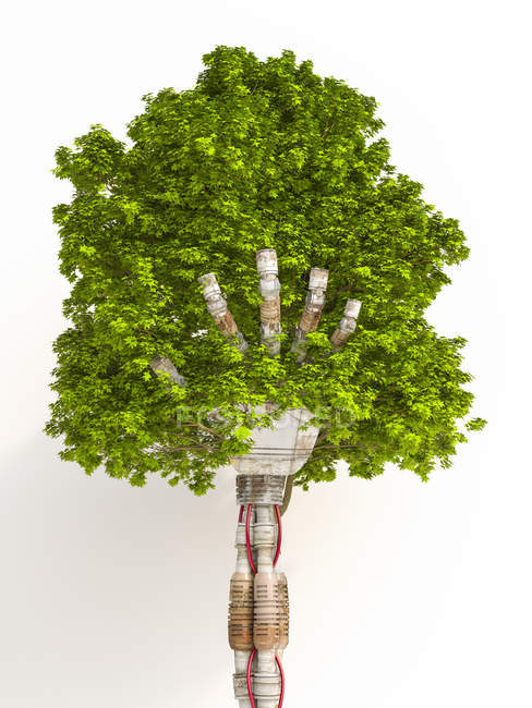 Robot hand holding tree, 3d rendering — Stock Photo