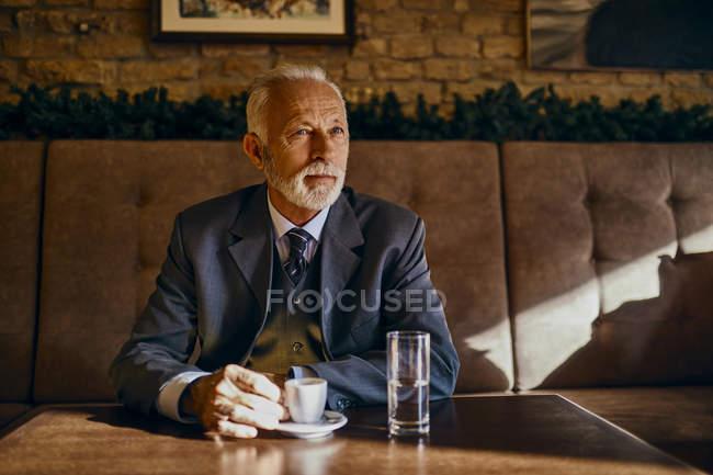 Portrait of elegant senior man sitting in a cafe — Stock Photo
