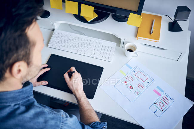 Web designer developing responsive website layout — Stock Photo