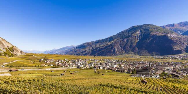 Switzerland, Valais, Leytron, townscape and vineyards — Stock Photo