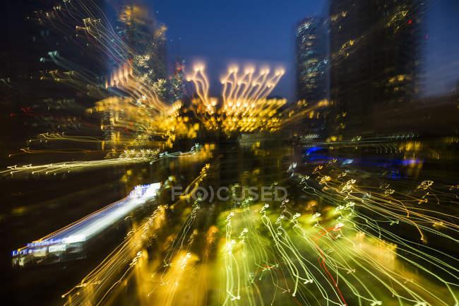United Arab Emirates, Dubai, blurred cityscape at night — Stock Photo